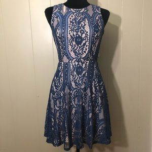 deep blue lace dress